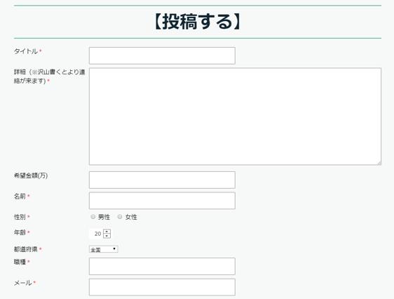 個人融資掲示板の投稿画面